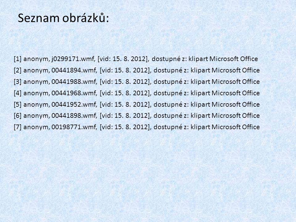Seznam obrázků: [1] anonym, j0299171.wmf, [vid: 15. 8. 2012], dostupné z: klipart Microsoft Office.